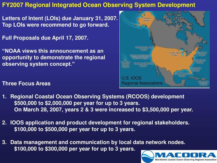 FY2007 Regional Integrated Ocean Observing System Development