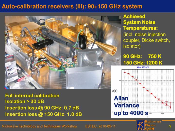 Auto-calibration receivers (III): 90+150 GHz system