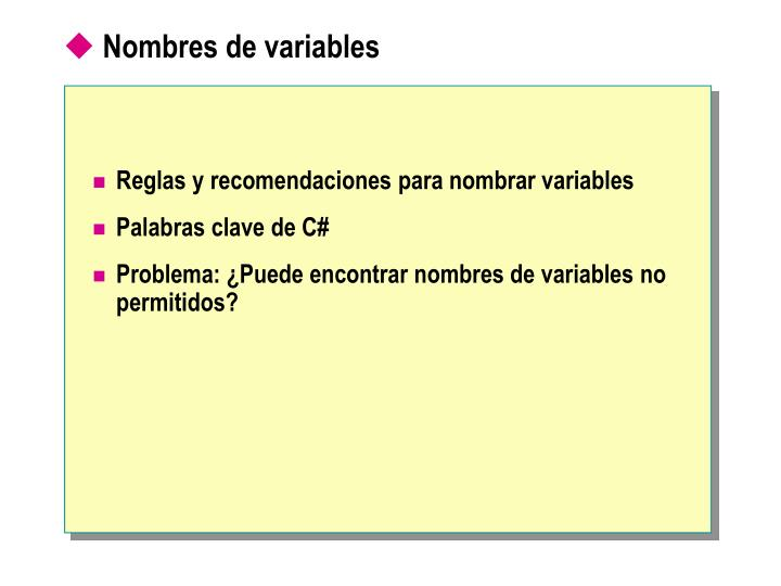 Nombres de variables