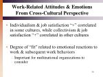 work related attitudes emotions from cross cultural perspective