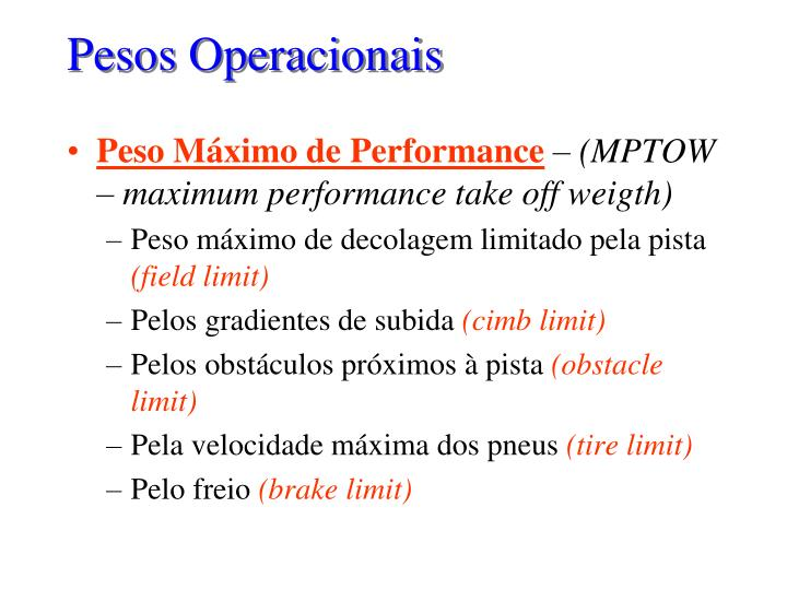 Pesos Operacionais