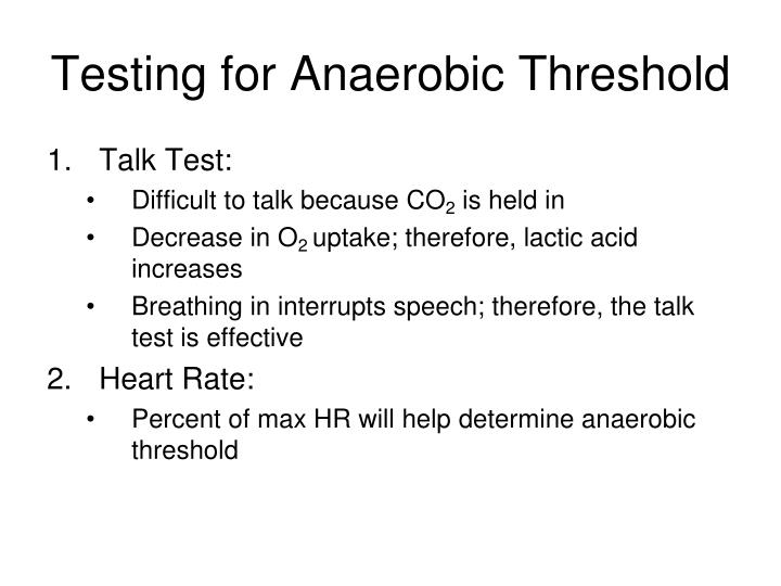 Testing for Anaerobic Threshold