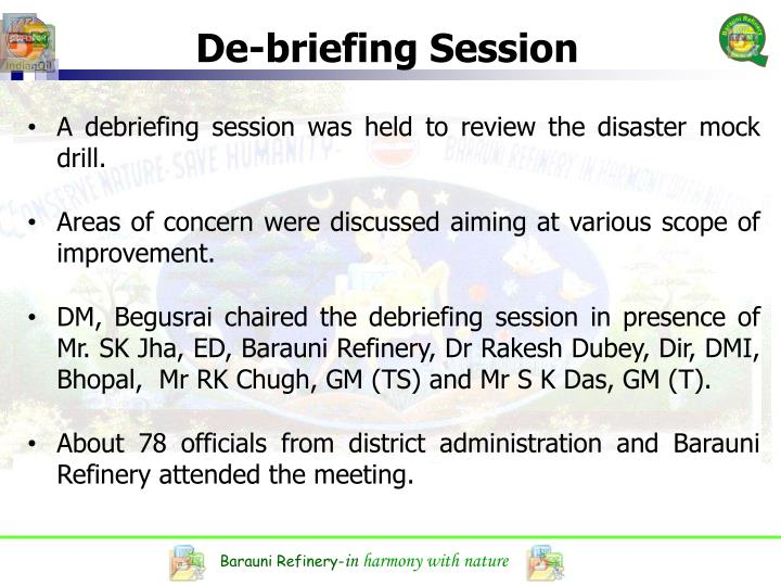 De-briefing Session