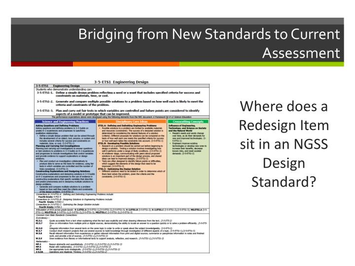 Bridging from New Standards to Current Assessment