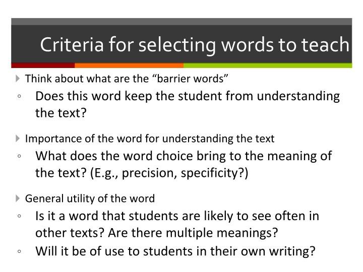 Criteria for selecting words to teach