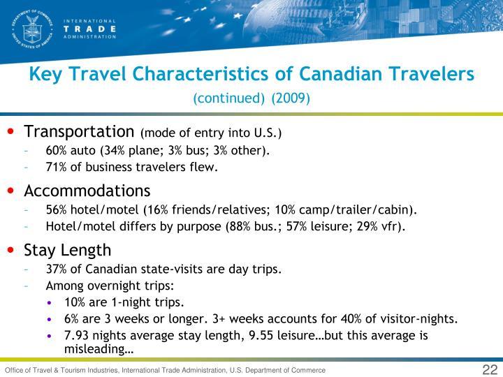 Key Travel Characteristics of Canadian Travelers