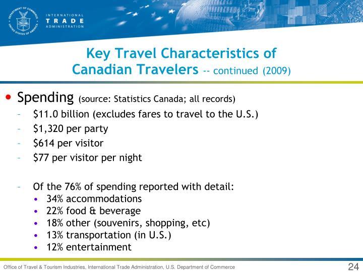 Key Travel Characteristics of