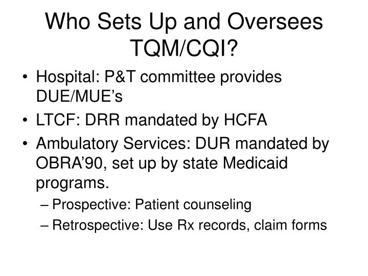 Who Sets Up and Oversees TQM/CQI?