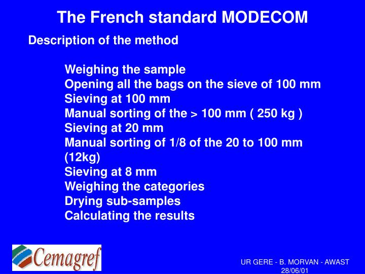 the french standard modecom n.