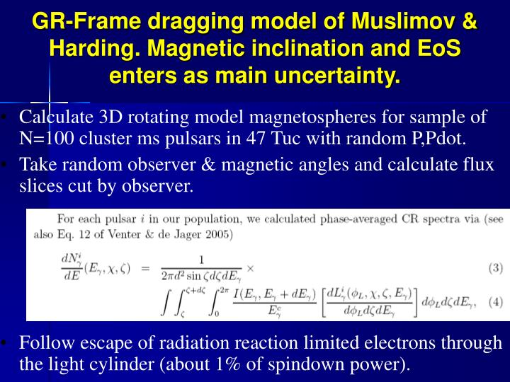 Calculate 3D rotating model magnetospheres for sample of N=100 cluster ms pulsars in 47 Tuc with random P,Pdot.