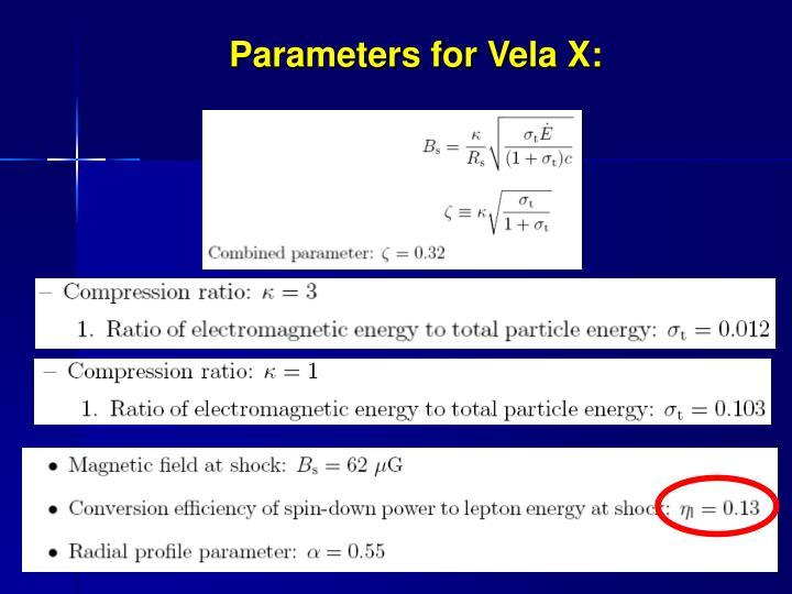 Parameters for Vela X: