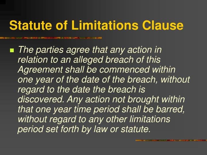 Statute of Limitations Clause