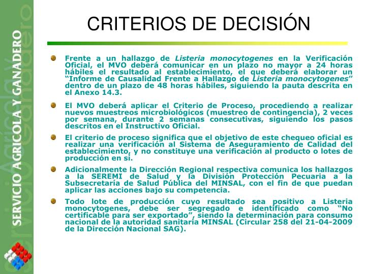 CRITERIOS DE DECISIÓN