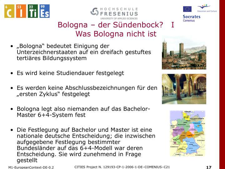 Bologna – der Sündenbock?   I