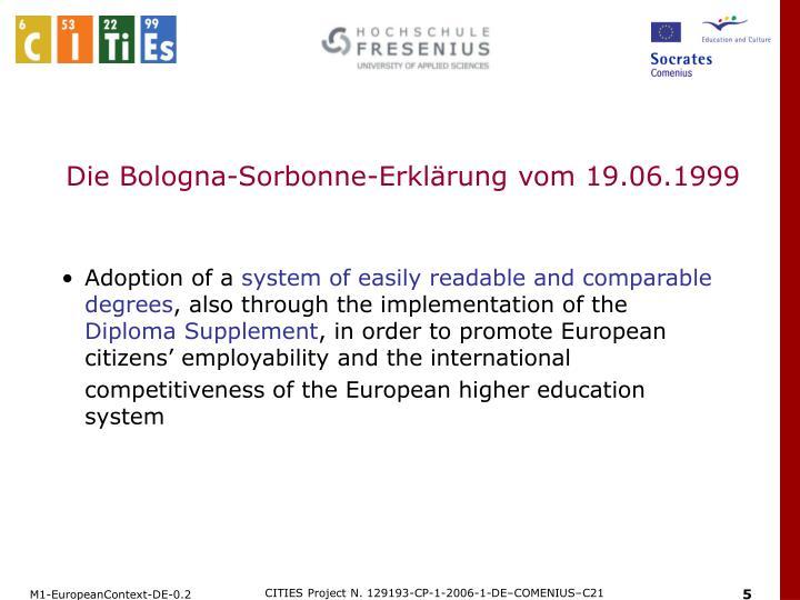 Die Bologna-Sorbonne-Erklärung vom 19.06.1999