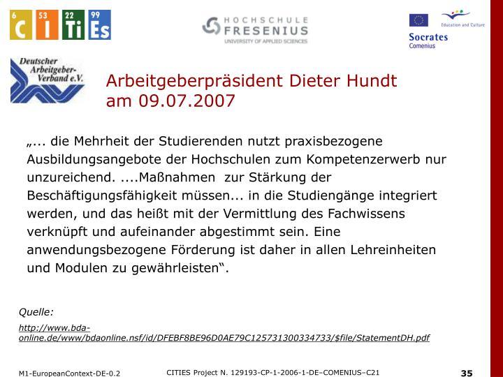 Arbeitgeberpräsident Dieter Hundt