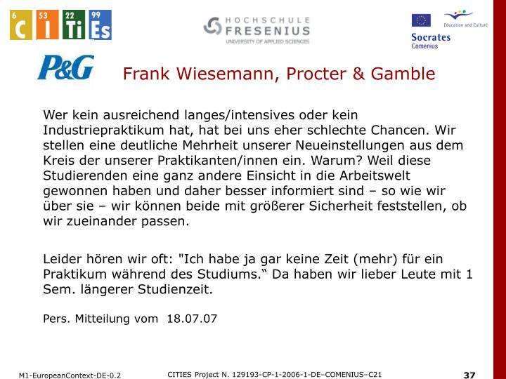 Frank Wiesemann, Procter & Gamble