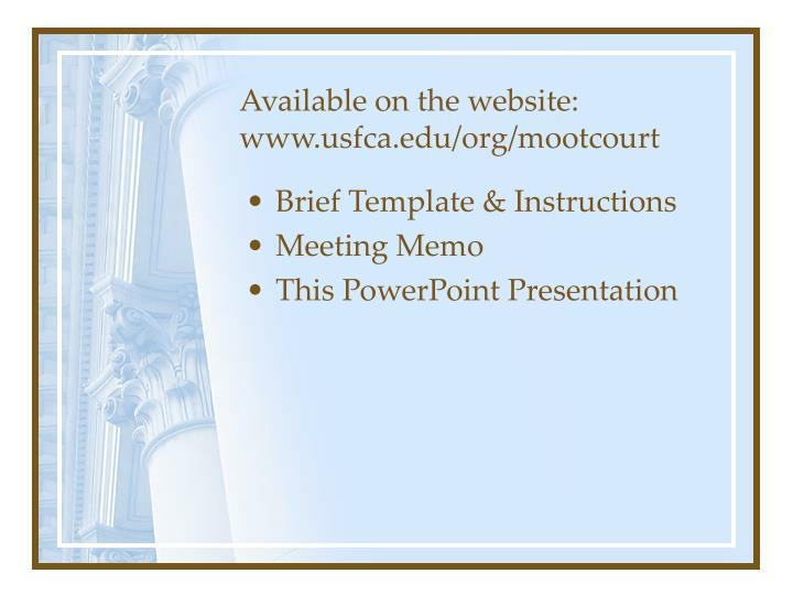 Available on the website www usfca edu org mootcourt