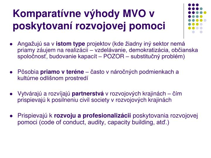 Komparatívne výhody MVO v poskytovaní rozvojovej pomoci