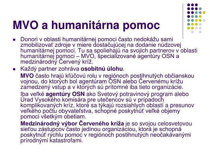 MVO a humanitárna pomoc