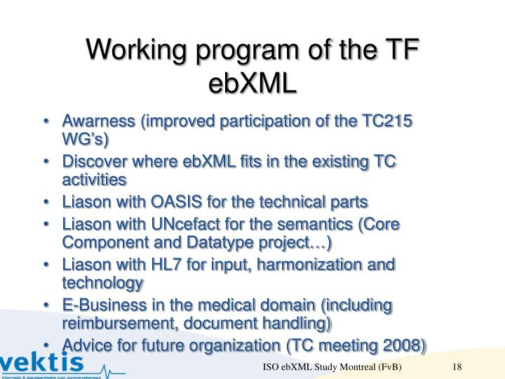 Working program of the TF ebXML
