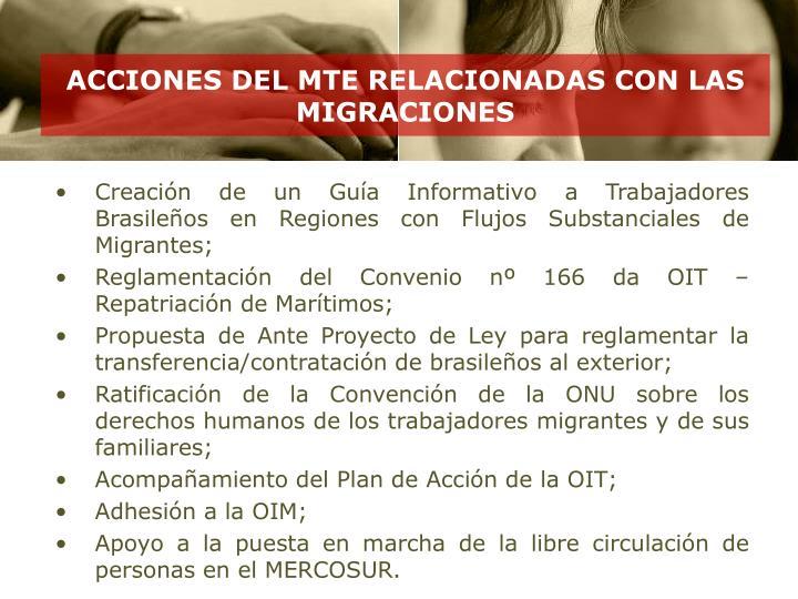 ACCIONES DEL MTE RELACIONADAS CON LAS MIGRACIONES