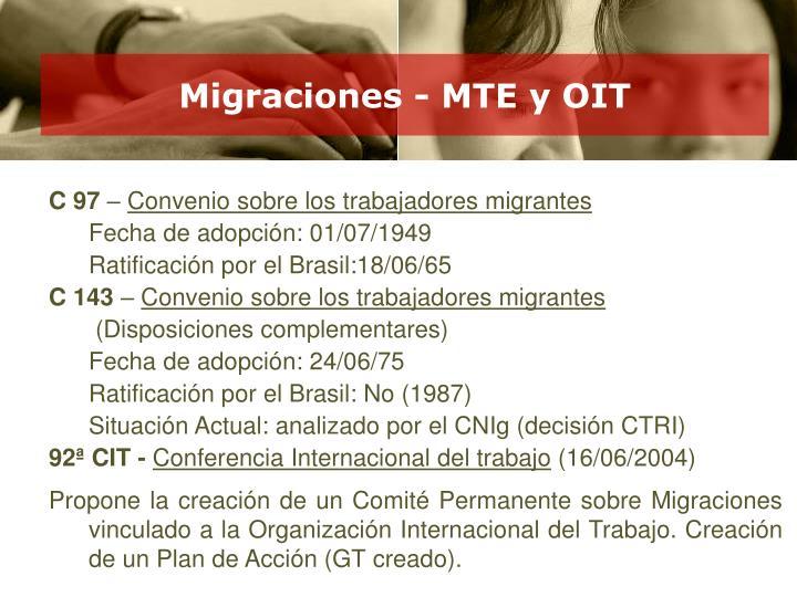Migraciones - MTE y OIT