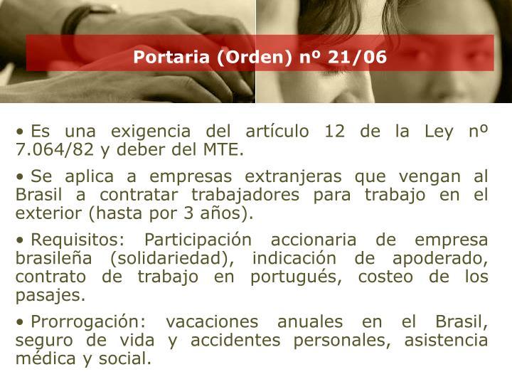 Portaria (Orden) nº 21/06