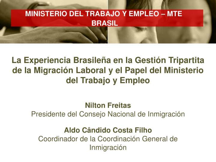 MINISTERIO DEL TRABAJO Y EMPLEO – MTE