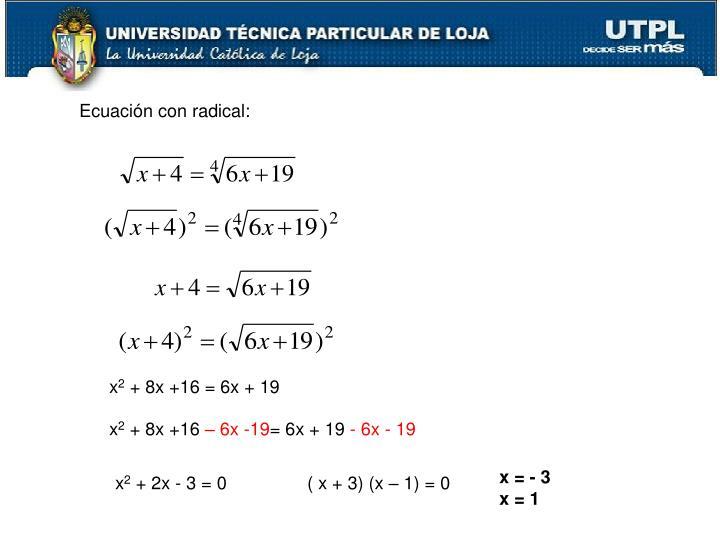 Ecuación con radical: