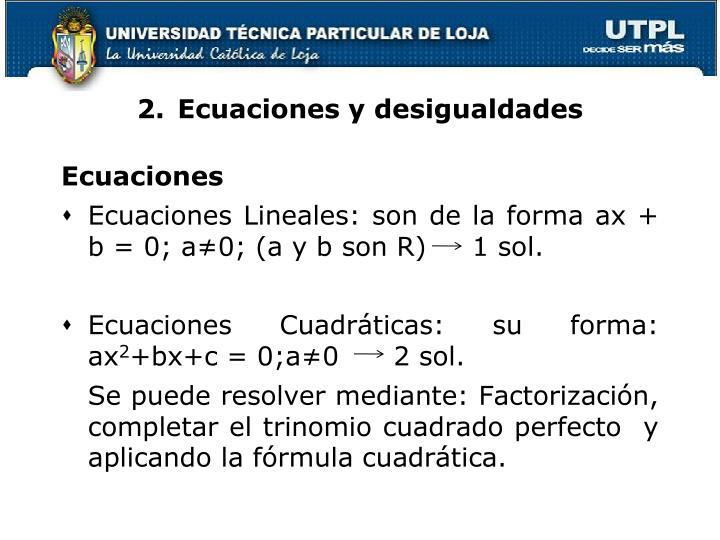 2.Ecuaciones y desigualdades