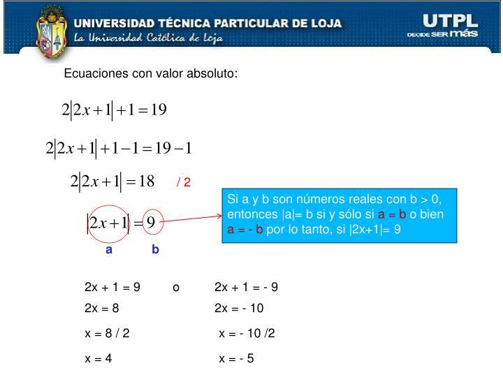 Ecuaciones con valor absoluto: