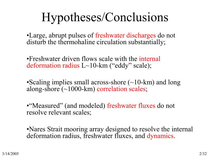 Hypotheses conclusions