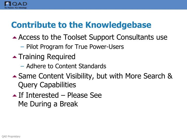 Contribute to the Knowledgebase