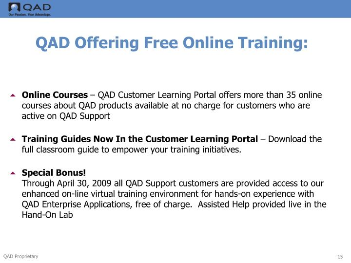 QAD Offering Free Online Training: