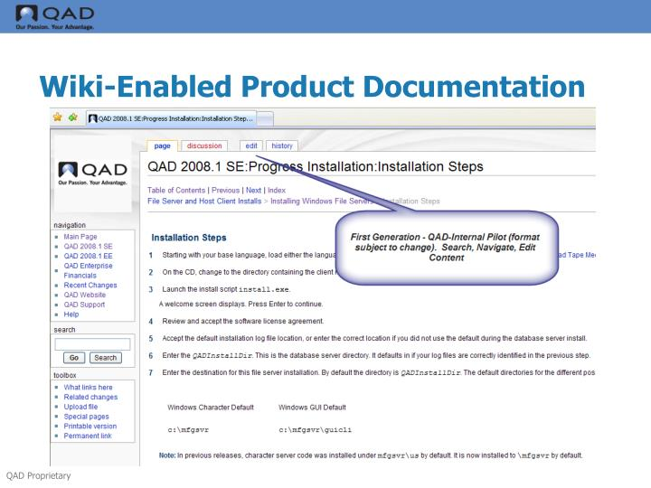 Wiki-Enabled Product Documentation