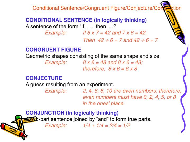 Conditional Sentence/Congruent Figure/Conjecture/Conjunction