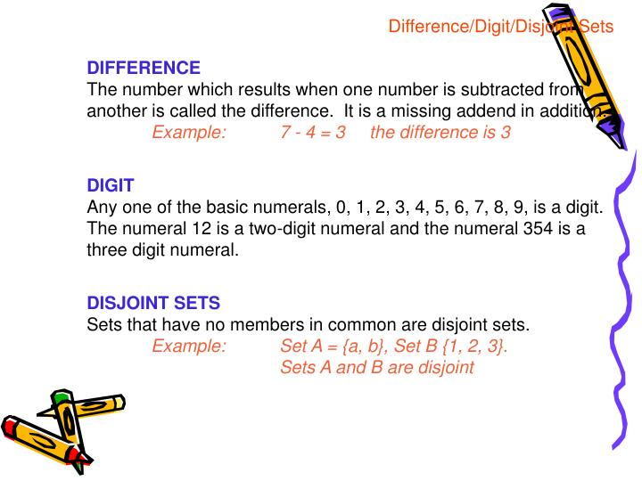 Difference/Digit/Disjoint Sets