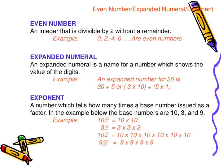 Even Number/Expanded Numeral/Exponent