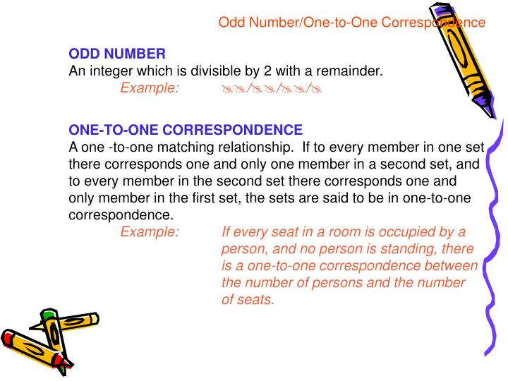 Odd Number/One-to-One Correspondence
