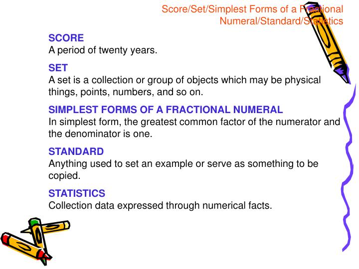 Score/Set/Simplest Forms of a Fractional Numeral/Standard/Statistics