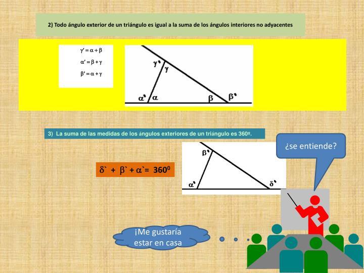 2) Todo ángulo exterior de un triángulo es igual a la suma de los ángulos interiores no adyacentes