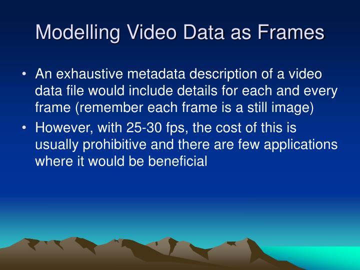 Modelling Video Data as Frames