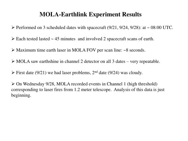 MOLA-Earthlink Experiment Results