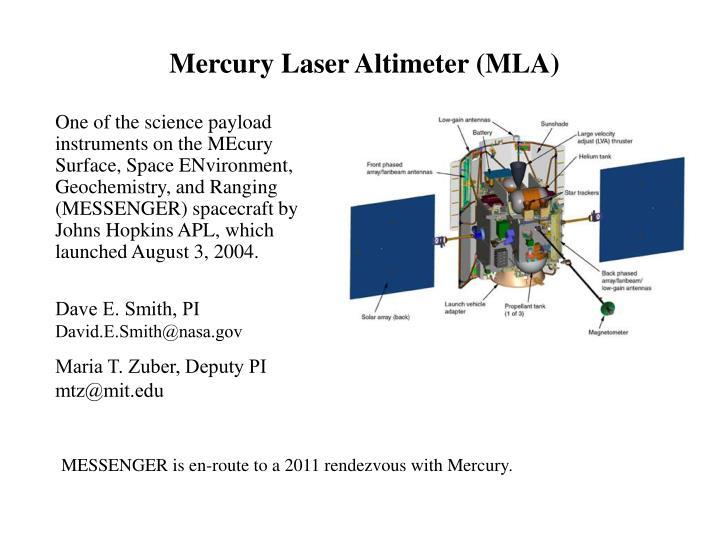 Mercury Laser Altimeter (MLA)