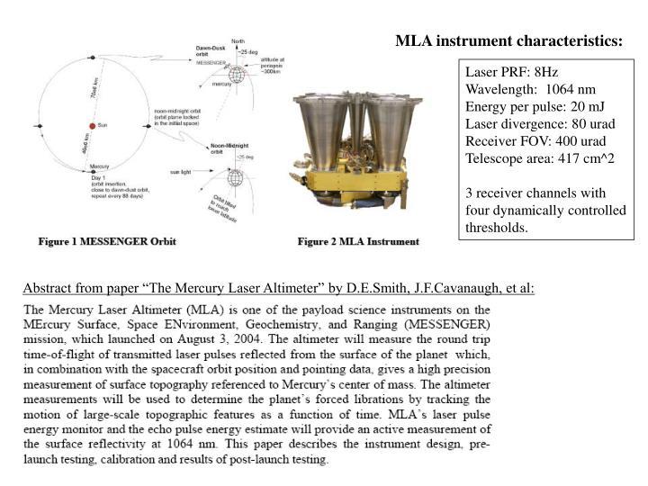 MLA instrument characteristics: