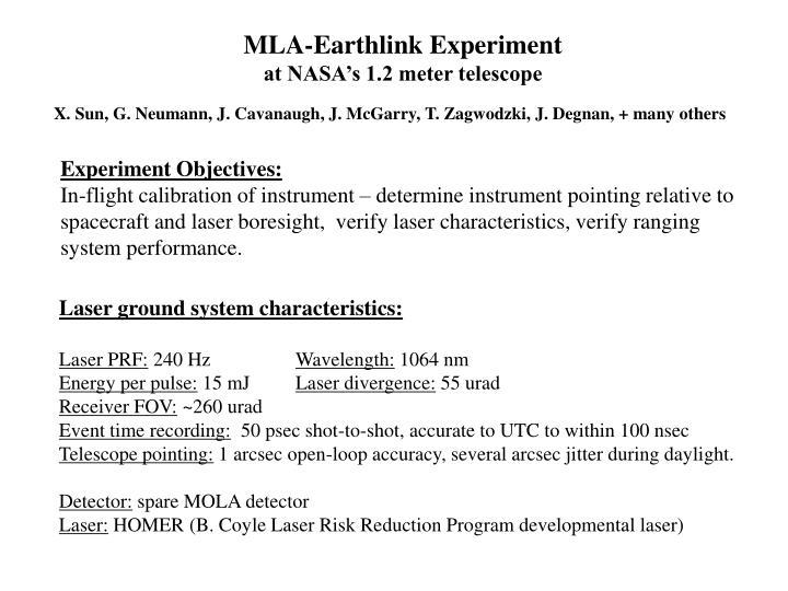 MLA-Earthlink Experiment