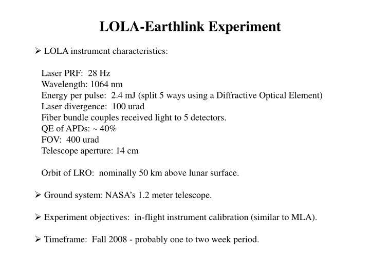 LOLA-Earthlink Experiment