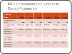 mth 2 enrollment and success in course progression