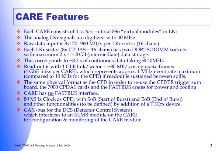Care features